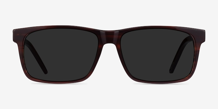Sun Sydney Brown Striped Acetate Sunglass Frames from EyeBuyDirect, Front View