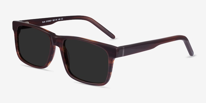 Sun Sydney Brown Striped Acetate Sunglass Frames from EyeBuyDirect, Angle View