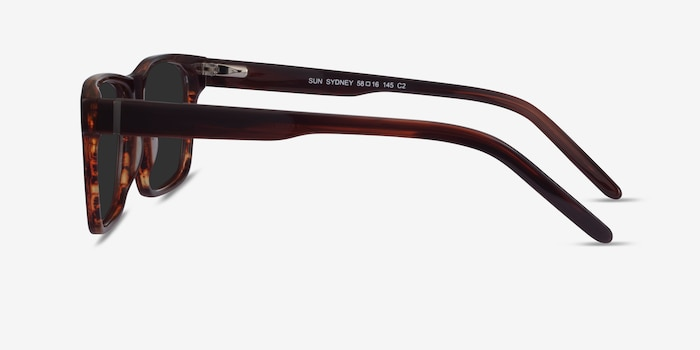 Sun Sydney Brown Striped Acetate Sunglass Frames from EyeBuyDirect, Side View