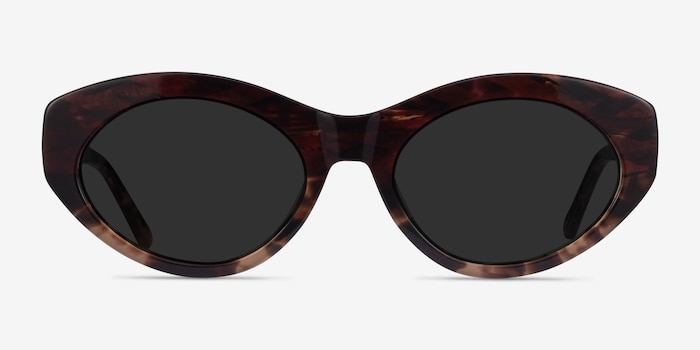 Fabulous Striped Tortoise Acetate Sunglass Frames from EyeBuyDirect, Front View