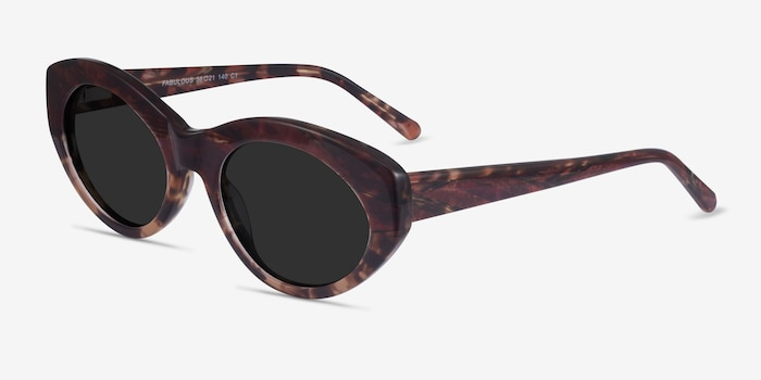 Fabulous Striped Tortoise Acetate Sunglass Frames from EyeBuyDirect, Angle View