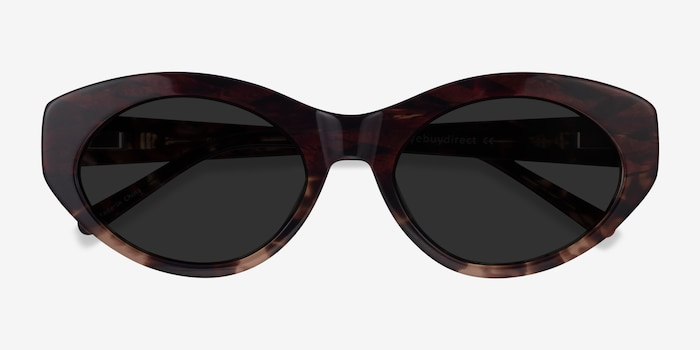 Fabulous Striped Tortoise Acetate Sunglass Frames from EyeBuyDirect, Closed View