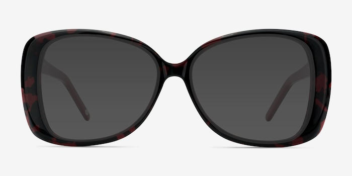 Marilyn Black Red Acetate Sunglass Frames from EyeBuyDirect, Front View