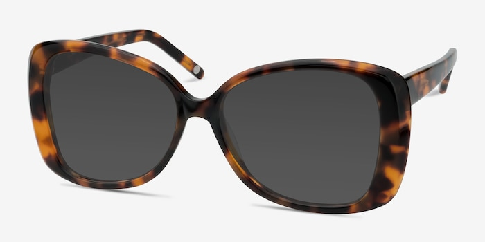 Marilyn Tortoise Acetate Sunglass Frames from EyeBuyDirect, Angle View