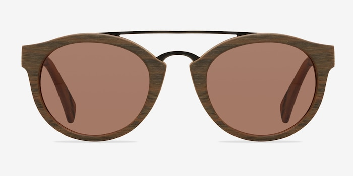 Enzo Brown/Striped Wood-texture Sunglass Frames from EyeBuyDirect, Front View