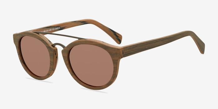 Enzo Brown/Striped Wood-texture Sunglass Frames from EyeBuyDirect, Angle View