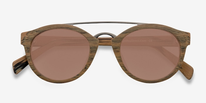 Enzo Brown/Striped Wood-texture Sunglass Frames from EyeBuyDirect, Closed View