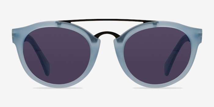 Enzo Clear/Blue Acetate Sunglass Frames from EyeBuyDirect, Front View