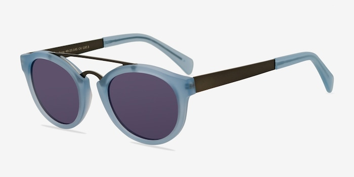 Enzo Clear/Blue Acetate-metal Sunglass Frames from EyeBuyDirect, Angle View
