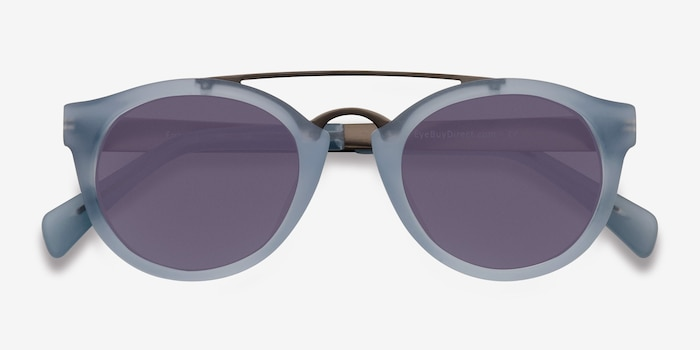 Enzo Clear/Blue Acetate-metal Sunglass Frames from EyeBuyDirect, Closed View