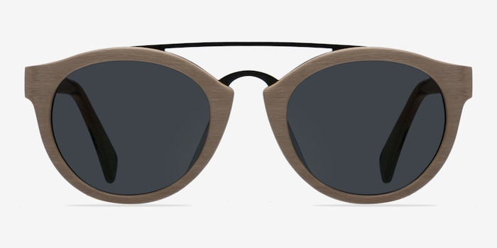Enzo Light Brown Metal Sunglass Frames from EyeBuyDirect, Front View