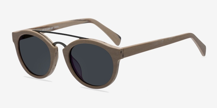 Enzo Light Brown Metal Sunglass Frames from EyeBuyDirect, Angle View