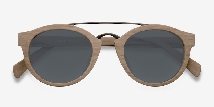 Enzo Light Brown Metal Sunglass Frames from EyeBuyDirect, Closed View