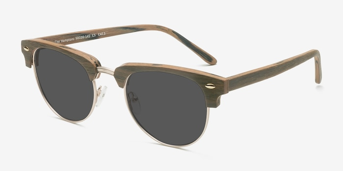 The Hamptons Walnut & Gold Wood-texture Sunglass Frames from EyeBuyDirect, Angle View