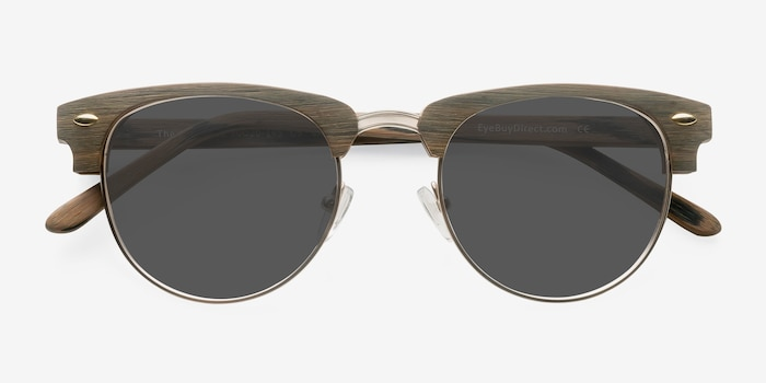 The Hamptons Walnut & Gold Wood-texture Sunglass Frames from EyeBuyDirect, Closed View