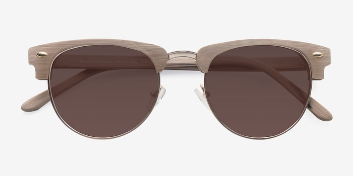 The Hamptons Oak & Silver Wood-texture Sunglass Frames from EyeBuyDirect, Closed View