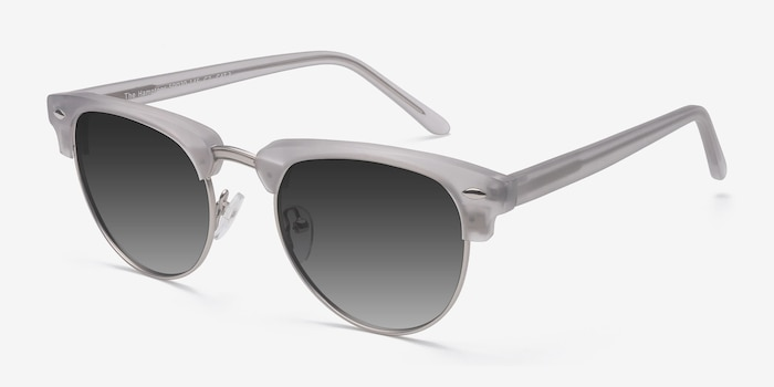 The Hamptons  Clear Silver  Acetate Sunglass Frames from EyeBuyDirect, Angle View