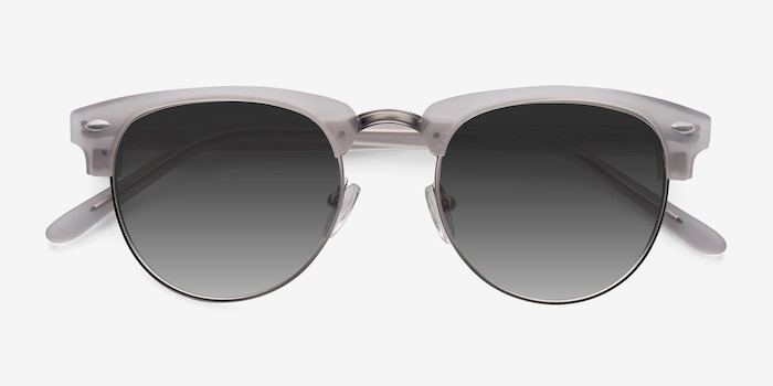 The Hamptons  Clear Silver  Acetate Sunglass Frames from EyeBuyDirect, Closed View