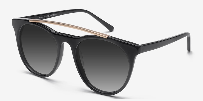 Miami Vice Black Metal Sunglass Frames from EyeBuyDirect, Angle View