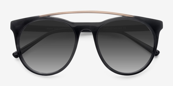 Miami Vice Black Metal Sunglass Frames from EyeBuyDirect, Closed View