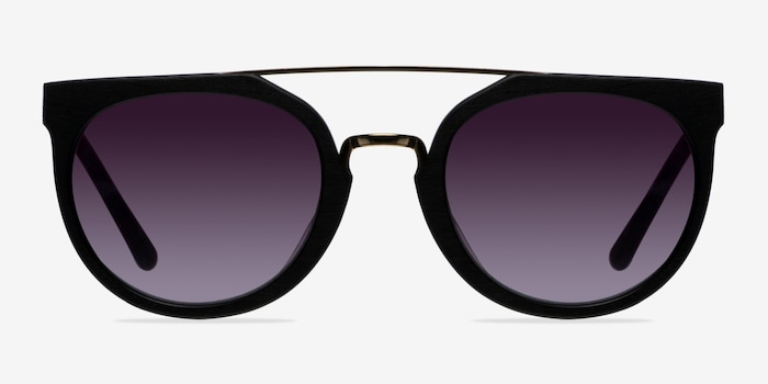 Bali Black/Golden Acetate Sunglass Frames from EyeBuyDirect, Front View