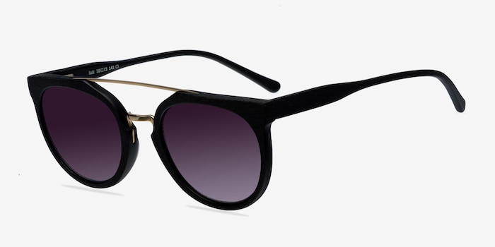 Bali Black/Golden Acetate Sunglass Frames from EyeBuyDirect, Angle View