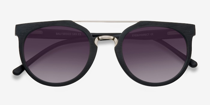 Bali Black/Golden Acetate Sunglass Frames from EyeBuyDirect, Closed View