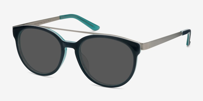 Morning Breeze Navy silver Metal Sunglass Frames from EyeBuyDirect, Angle View