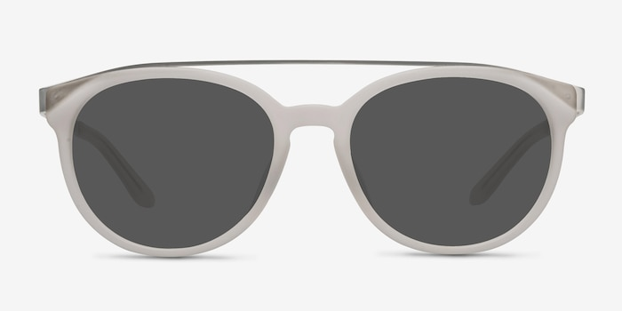 Morning Breeze Matte White Metal Sunglass Frames from EyeBuyDirect, Front View