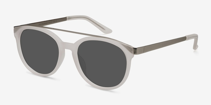 Morning Breeze Matte White Acetate-metal Sunglass Frames from EyeBuyDirect, Angle View