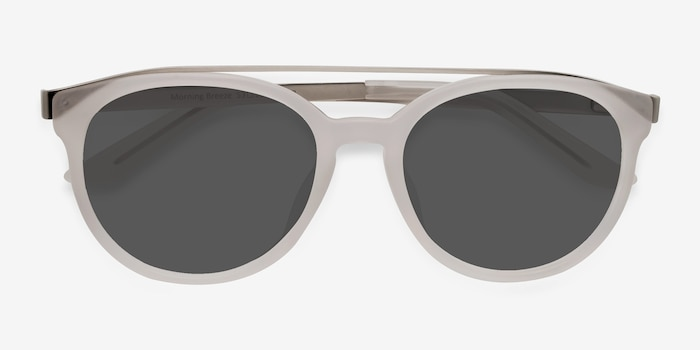 Morning Breeze Matte White Acetate-metal Sunglass Frames from EyeBuyDirect, Closed View