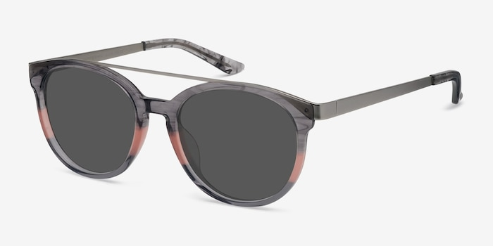 Morning Breeze Gray Pink Acetate-metal Sunglass Frames from EyeBuyDirect, Angle View