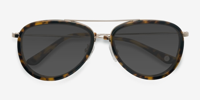 Duke Tortoise Acetate Sunglass Frames from EyeBuyDirect, Closed View