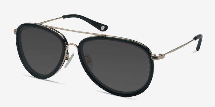 Duke Black Metal Sunglass Frames from EyeBuyDirect, Angle View