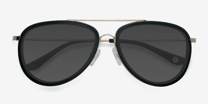 Duke Black Metal Sunglass Frames from EyeBuyDirect, Closed View