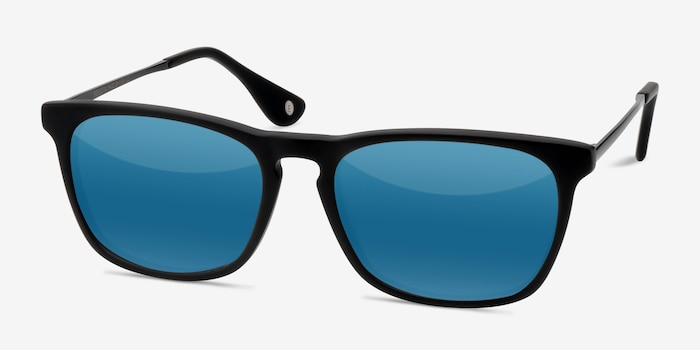 Bogota Matte Black Acetate Sunglass Frames from EyeBuyDirect, Angle View