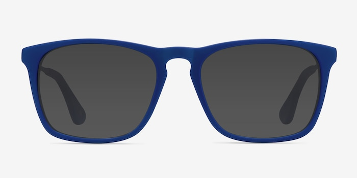 Bogota Matte Blue Acetate Sunglass Frames from EyeBuyDirect, Front View