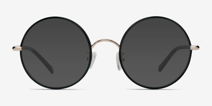 Mojo Noir Acétate Soleil de Lunettes d'EyeBuyDirect, Vue de Face