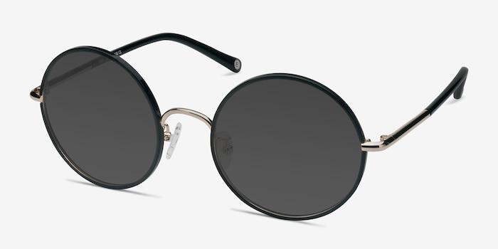 Mojo Black Acetate Sunglass Frames from EyeBuyDirect, Angle View