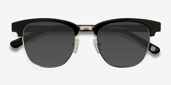 Somebody New Black Acetate Sunglass Frames from EyeBuyDirect, Closed View