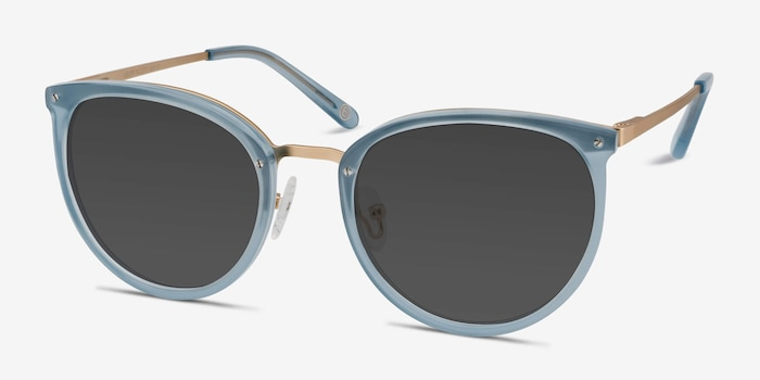 Crush Frosted Blue Metal Sunglass Frames from EyeBuyDirect, Angle View