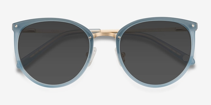 Crush Frosted Blue Metal Sunglass Frames from EyeBuyDirect, Closed View