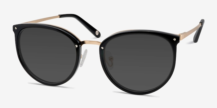 Crush Black Acetate Sunglass Frames from EyeBuyDirect, Angle View