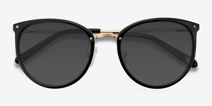 Crush Black Acetate Sunglass Frames from EyeBuyDirect, Closed View