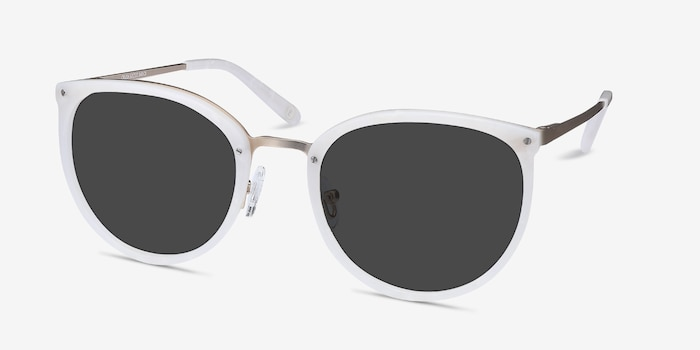 Crush Ivory Metal Sunglass Frames from EyeBuyDirect, Angle View