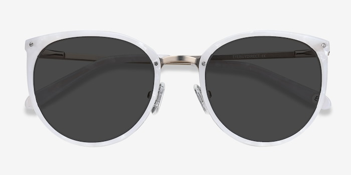 Crush Ivory Metal Sunglass Frames from EyeBuyDirect, Closed View