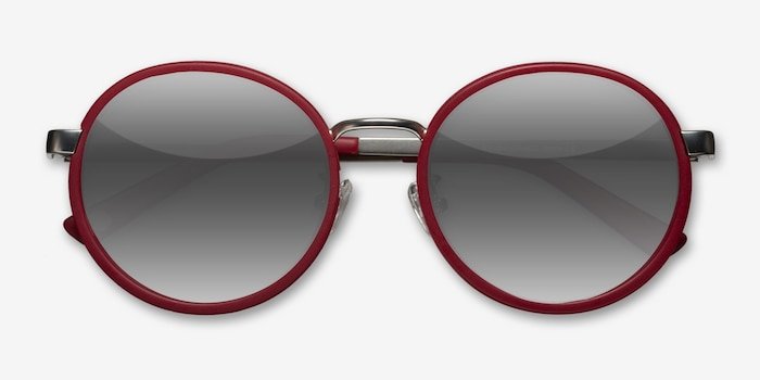 Lady Bird Matte Red Acetate Sunglass Frames from EyeBuyDirect, Closed View