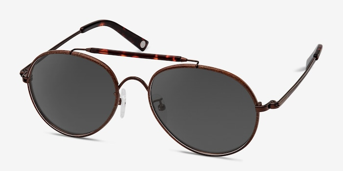 Nairobi Brown Acetate Sunglass Frames from EyeBuyDirect, Angle View