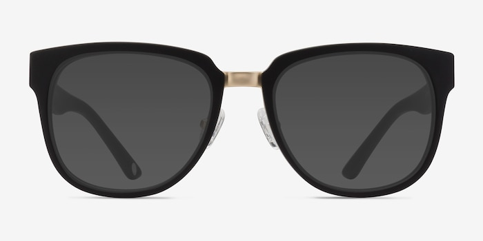 Haute Couture Matte Black Metal Sunglass Frames from EyeBuyDirect, Front View