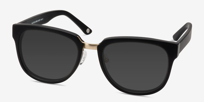 Haute Couture Matte Black Metal Sunglass Frames from EyeBuyDirect, Angle View